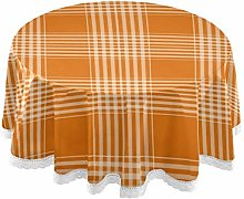 Checks Tartan Plaid Orange Round Linen Tablecloth