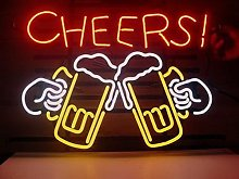 Cheers Beer Real Glass Neon Light Sign Home Beer