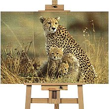 Cheetah Cub Baby And Mother 20x30 inches | Canvas