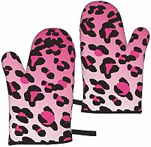 Cheetah Leopard Blush Pink Oven Mitts Double-Layer