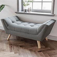 Chenille Footstool Window Seat Bench, Grey