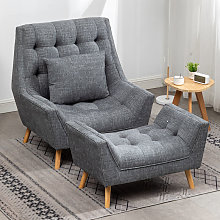 Chenille Lounge Armchair And Footstool, Grey