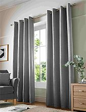 Chenille Plain Lined Eyelet Curtains, Ring Top