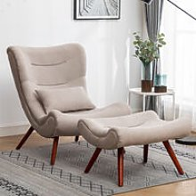Chenille Recline Lounge Chair And Footstool, Beige
