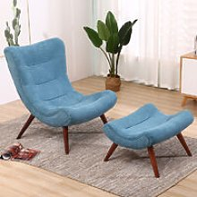 Chenille Recline Lounge Chair And Footstool, Blue