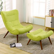 Chenille Recline Lounge Chair And Footstool, Green