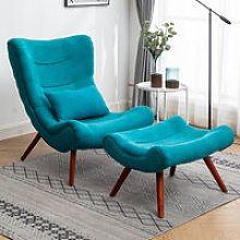 Chenille Recline Lounge Chair And Footstool, Royal