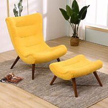 Chenille Recline Lounge Chair And Footstool, Yellow