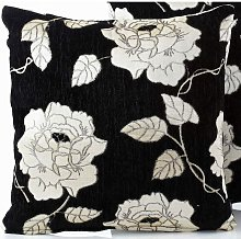 Chenille Rose 18' Black Cushion Cover Bed Sofa