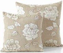 Chenille Rose 18' Cream Cushion Cover Bed Sofa