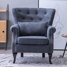 Chenille Wingback Armchair With Cushion, Dark Grey