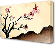 Cherry Blossom Brown Ethnic Canvas Print Wall Art