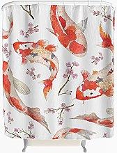 Cherry Blossom Koi Carp Shower Curtain Anti-Mould