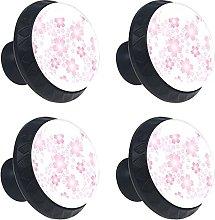 Cherry Blossom Sakura 4PCS Cabinet Knobs, Round