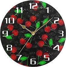 Cherry Fruit Leaves Black Wall Clock Silent Non