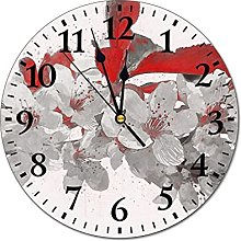 Cherry Round Wall Clock Silent Non Ticking,Fashion