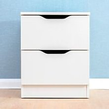 Cherry Tree Furniture 2-Drawer White Wood Bedside