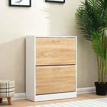 Cherry Tree Furniture 2-Drawer Wooden Shoe Cabinet