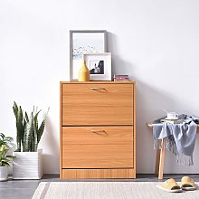 Cherry Tree Furniture 2 Drawer Wooden Shoe Cabinet