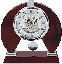 Cherry Wood Wooden Silver Skeleton Pendulum Mantel