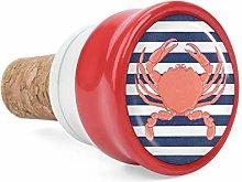 Chesapeake Blue Crab Stripes Printed Wine Cork