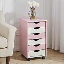 Chest Of 6 Drawers Wooden Rolling Storage Cabinet