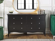 Chest of Drawers Black Sideboard with 6 Drawers 75
