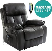 Chester Black Real Leather Recliner Armchair