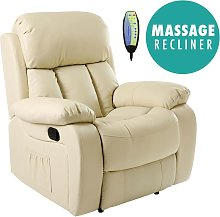Chester Cream Real Leather Recliner Armchair
