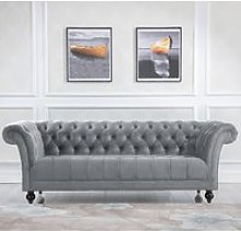Chester Grey Fabric 3 Seater Sofa