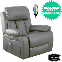 Chester Heated Leather Massage Recliner Chair.