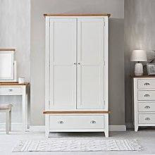 Chester White Painted Oak 2 Door Wardrobe with