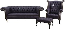 Chesterfield 1857 Suite 3 Seater Sofa + Queen Anne