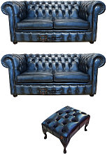Chesterfield 2+2+footstool Leather Sofa Offer