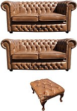 Chesterfield 2+2+Footstool Old English Tan Leather