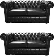 Chesterfield 2+2 Old English Black Sofa Offer