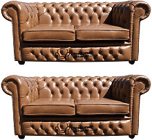 Chesterfield 2+2 Old English Tan Leather Sofa Offer