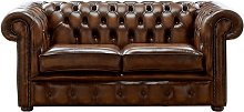 Chesterfield 2 Seater Antique Autumn Tan Leather