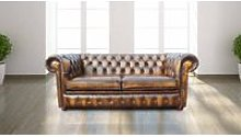 Chesterfield 2 Seater Antique Gold Leather Sofa