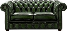 Chesterfield 2 Seater Antique Green Leather Sofa