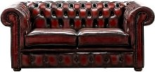 Chesterfield 2 Seater Antique Oxblood Leather Sofa