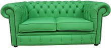 Chesterfield 2 Seater Apple Green Leather Sofa