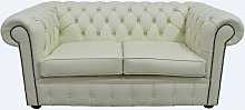 Chesterfield 2 Seater Cottonseed Cream Leather