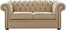Chesterfield 2 Seater Dark Beige Leather Sofa