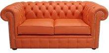 Chesterfield 2 Seater Flamenco Orange Leather Sofa
