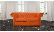 Chesterfield 2 Seater Mandarin Orange Leather Sofa