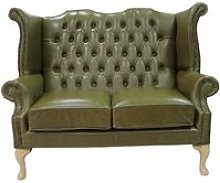 Chesterfield 2 Seater Queen Anne High Back Wing