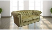 Chesterfield 2 Seater Settee Velluto Gold Fabric