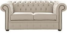 Chesterfield 2 Seater Shelly Beige Leather Sofa