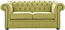 Chesterfield 2 Seater Shelly Field Green Leather